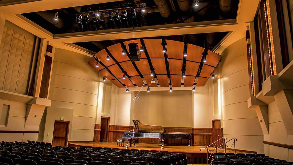 USC retrofits Newman Hall with CHAUVET Professional all-LED theatrical lighting solutions using Ovation H-105WW LED ellipsoidals and LED wash fixtures.